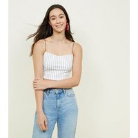 White Pinstripe Cropped Cami New Look
