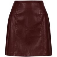 Burgundy Leather-Look Mini Skirt New Look