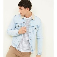 Pale Blue Corduroy Collared Denim Jacket New Look