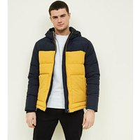 Yellow and Navy Colour Block Puffer Jacket New Look