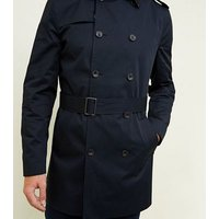 Navy Double Breasted Mac New Look