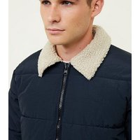Navy Borg Collar Puffer Jacket New Look