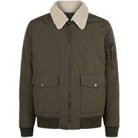Khaki Borg Collar Aviator Jacket New Look