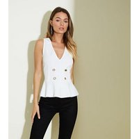 White Button Front Peplum Top New Look