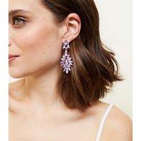 Lilac Stone Chandelier Earrings New Look