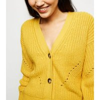 mustard-chunky-pointelle-knit-cardigan-new-look