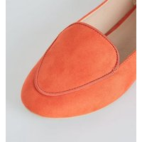 Bright Orange Suedette Piped Edge Loafers New Look