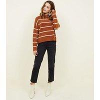 Brown Stripe Fluffy Jumper New Look