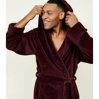Men's Burgundy Faded Check Dressing Gown New Look