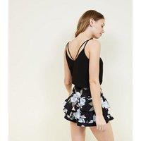 Black Floral Frill Skort New Look
