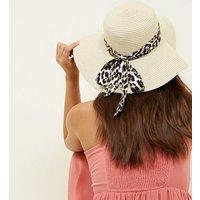 Dark Brown Leopard Print Tie Floppy Hat New Look