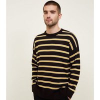 Black and Mustard Stripe Crew Neck Jumper New Look