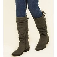 Khaki Suedette Slouchy Knee High Boots New Look