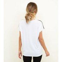 White Metallic Tape Sleeve Tie Side T-Shirt New Look