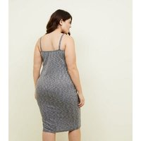Curves Grey Jersey Ribbed Dress New Look