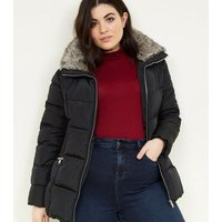 Curves Black Faux Fur Collar Puffer Jacket New Look