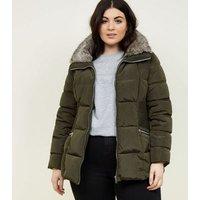 Curves Khaki Faux Fur Collar Puffer Jacket New Look