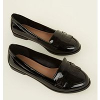 Wide Fit Black Patent Fringe Front Loafers New Look