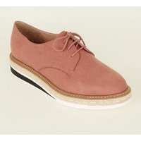 Pink Suedette Chunky Sole Lace Up Shoes New Look