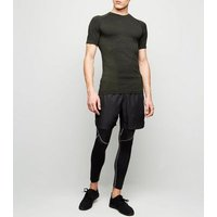 Khaki Raglan Sleeve Muscle Fit Sports T-Shirt New Look