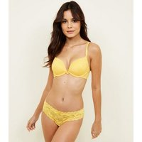 Mustard Lace Push-Up Bra New Look