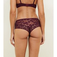 Dark Purple Lace Brazilian Briefs New Look
