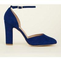 Wide Fit Bright Blue Suedette Block Heels New Look