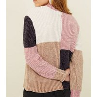 Petite Multicoloured Colour Block Chenille Jumper New Look