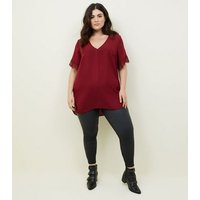 Curves Burgundy Lace Trim Top New Look