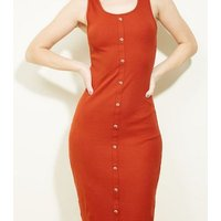 Rust Ribbed Button Front Bodycon Midi Dress New Look