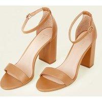 Wide Fit Camel Leather-Look Block Heels New Look