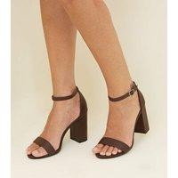 Wide Fit Dark Brown Leather-Look Block Heels New Look
