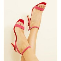 Wide Fit Pink and Red Suedette Strappy Square Toe Heels New Look