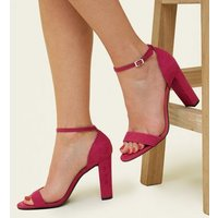 Wide Fit Bright Pink Suedette Ankle Strap Block Heels New Look