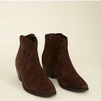 Brown Suede Western Boots New Look