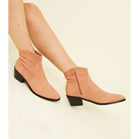 Pink Suede Western Ankle Boots New Look