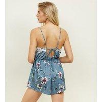 Nicola Blue Floral Satin Pyjama Playsuit New Look