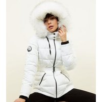 White Faux Fur Hood Belted Puffer Jacket New Look