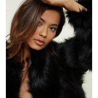 Black Faux Fur Collarless Jacket New Look