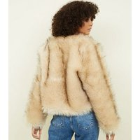 Cream Faux Fur Cropped Collarless Jacket New Look