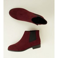 Wide Fit Dark Red Faux Snakeskin Panel Chelsea Boots New Look