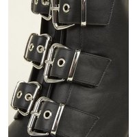 Black Buckle Front Chunky Heeled Boots New Look