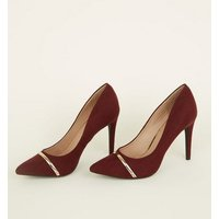 Dark Red Suedette Metal Bar Pointed Courts New Look