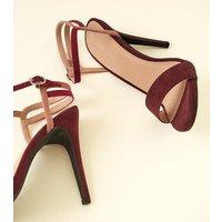 Pink and Burgundy Suedette Strap Stilettos New Look