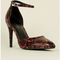 Red Faux Snake Two Part Pointed Heels New Look