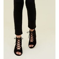 Teens Black Suedette  Lace Up Peep Toe Boots New Look