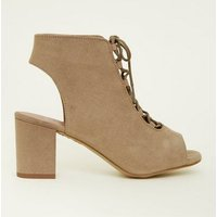 Girls Light Brown Suedette Lace Up Peep Toe Boots New Look