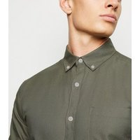 Olive Cotton Long Sleeve Oxford Shirt New Look