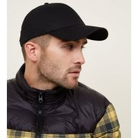 Black Six Panel Cap New Look