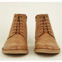 Tan Zip Leather-Look Boots New Look